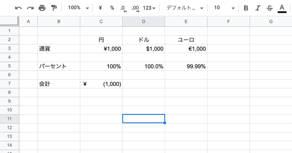 数字の表示形式